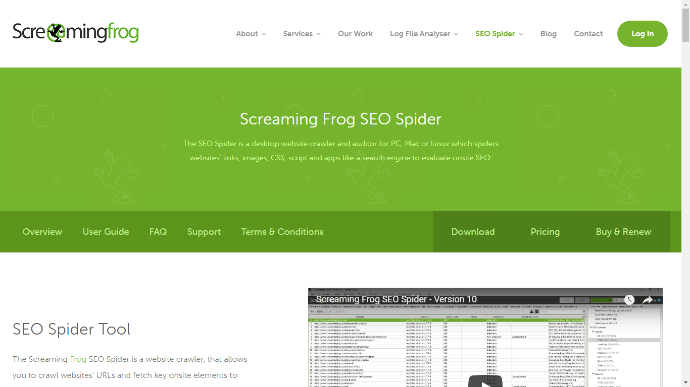 Screaming Frog Spider Tool