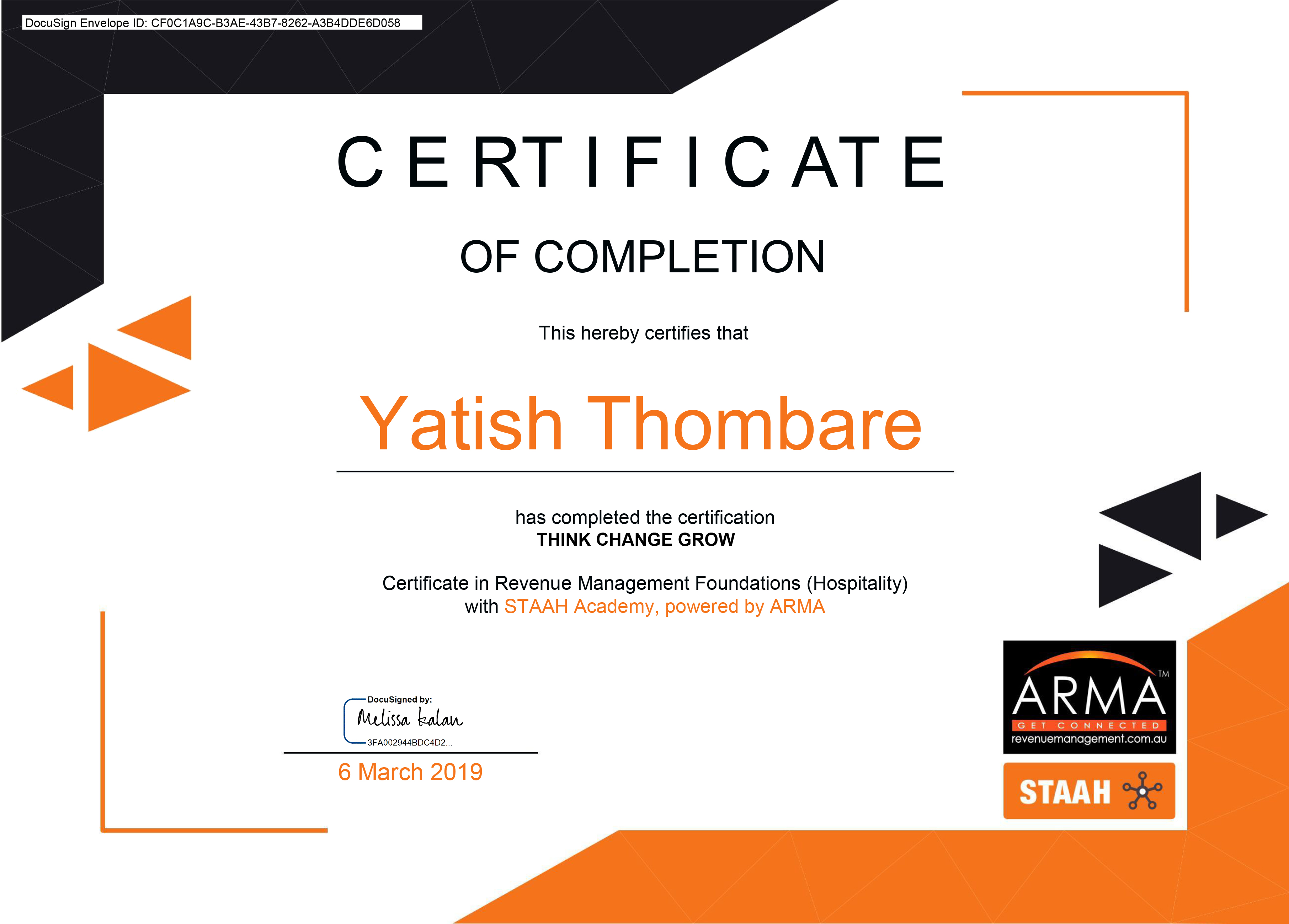 ARMA - Certificate Of Completion
