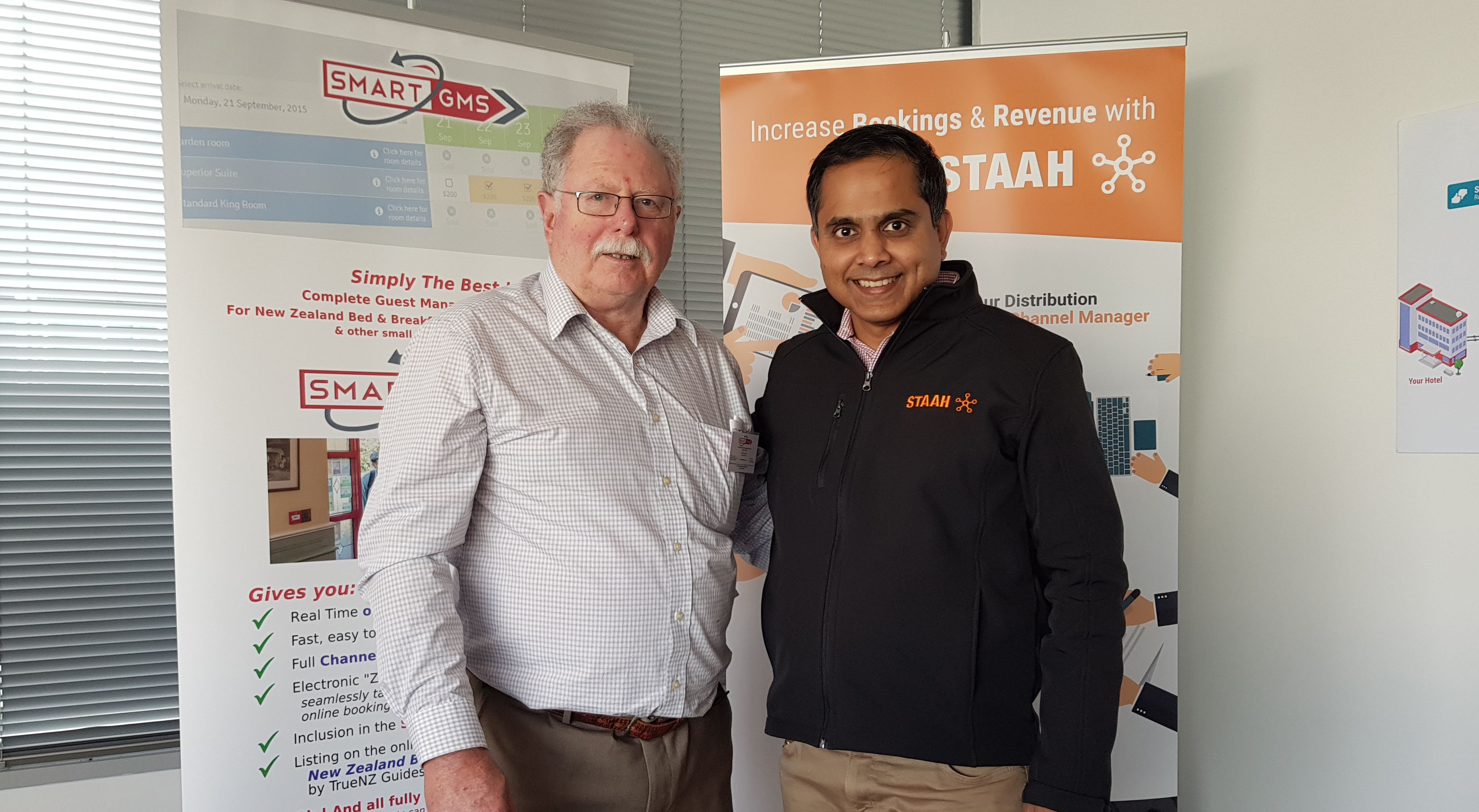 Mike Raymer from TrueNZ with Edwin Saldanha from STAAH