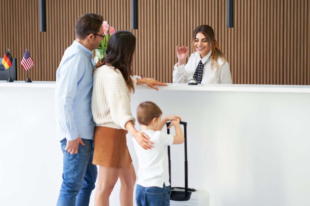 hospitality hotel front desk guest check in